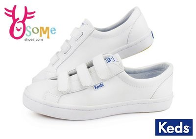 Keds 女鞋 帆布鞋 皮革 魔鬼氈 防水 小白鞋 休閒鞋H9857#OSOME奧森童鞋