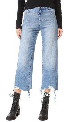 ◎美國代買◎DL1961 Hepburn High Rise Wide Leg 剪破抽鬚褲口頹廢街風高腰寛管刷破七分牛仔