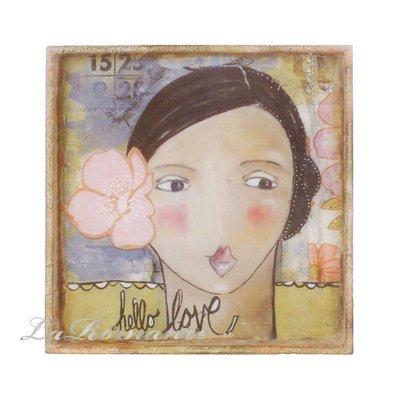 【Heart & Home】Kelly Rae Roberts 心戀家居系列鐵皮托盤 - 中 (hello love)