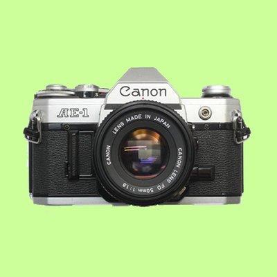 5Cgo【含稅】98新銀色CANON佳能 AE-1 AE-1P膠片機50/1.8相機包膠卷高遮光25609360128