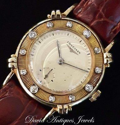 ((天堂鳥)) 新品刊登 LONGINES 浪琴 14K手上鍊立體鏤空鑽錶