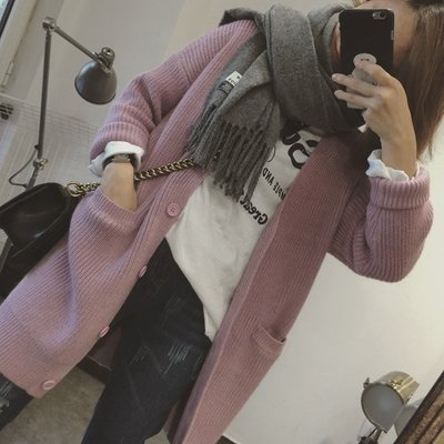 CHERRY LALA 韓國單實拍簡約寬鬆雙口袋素色中長款毛衣開衫外套-香芋粉 YN03061  韓妮 chic