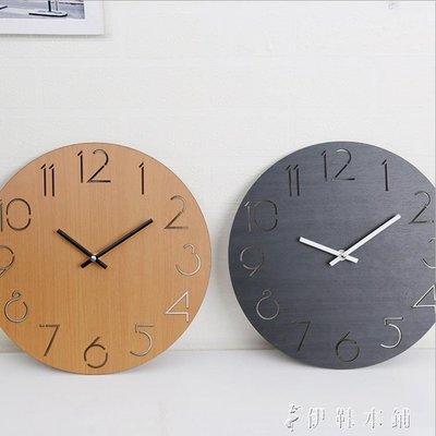 【蘑菇小隊】掛鐘客廳歐式鐘錶北歐木質個性家用臥室時鐘-免運費