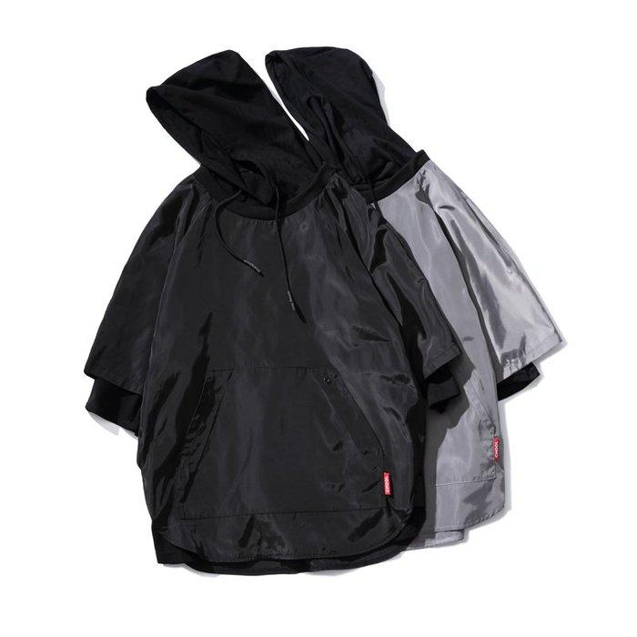 FINDSENSE 2019 春季 新款 日本 街頭 嘻哈 大碼 假兩件 純色 時尚 寬鬆 個性連帽 衛衣 潮男