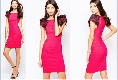 (嫻嫻屋) 英國ASOS-Vesper 時尚俐落立體蕾絲褶紙袖設計合身S曲線桃紅色禮服洋裝 婚禮 宴會 現貨UK14