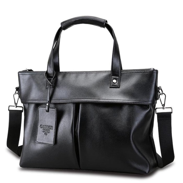 公文包手提包軟皮商務男包橫款單肩斜跨休閒包包公文皮包