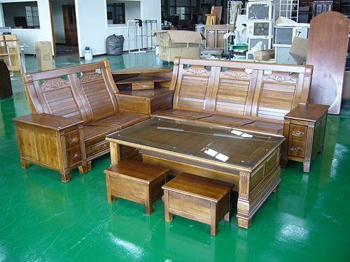 樂居二手家具館*全實木多功能收納櫸木L型組椅* 木頭椅 木沙發含大茶几強化玻璃