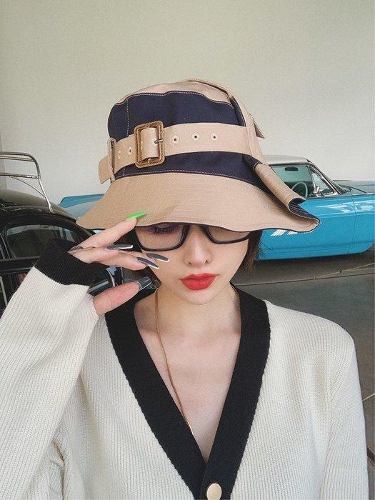 【鈷藍家】原創設計獨特小眾帽飾日單隨身便攜可折疊盆帽潮牌撞色不規則拼接棉漁夫帽出游旅行休閒帽