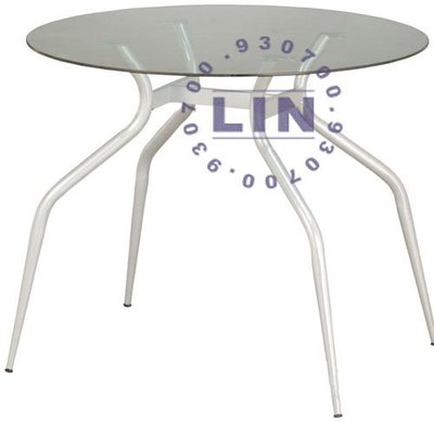 【品特優家具倉儲】P494-32餐桌洽談桌歐風烤漆玻璃圓桌2.5尺