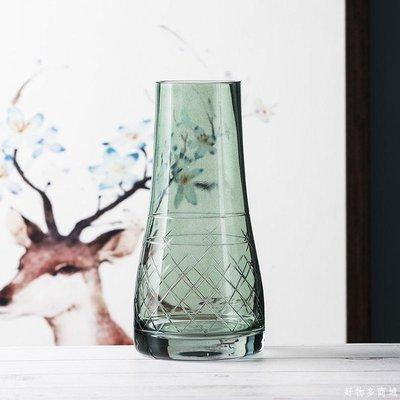 好物多商城 雕刻時光 創意手工制器玻璃花瓶擺件 客廳插花插干花的花瓶鮮花瓶