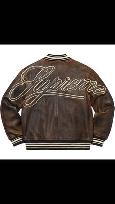 19ss supreme  worn leather varsity jacket 仿舊皮衣 黑XL