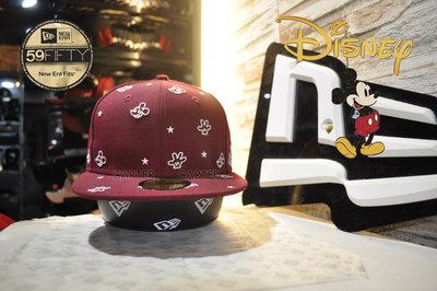 New Era x Disney Mickey Mouse All Over 59Fifty 米老鼠刺繡全封尺寸帽酒紅