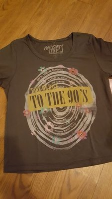 美國購回 真品 灰色MIGHTY FINE 回到90年代 圓領短袖上衣 歐美時尚 孫芸芸 關穎