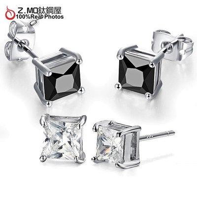 閃亮方晶鑽石耳環 鍍白金材質 日系時尚女孩配件 一對價【EKA015】Z.MO鈦鋼屋