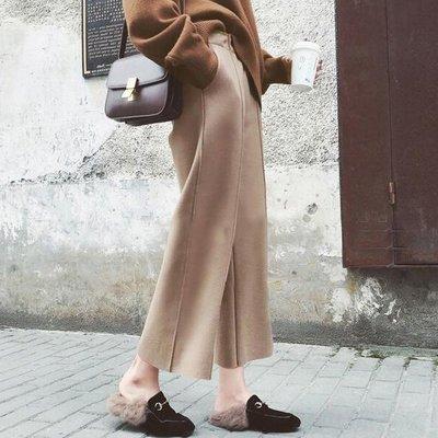 寬管褲直筒褲 一件可自我栽剪垂墜感毛呢保暖九分闊腿褲 艾爾莎【TAE8142】