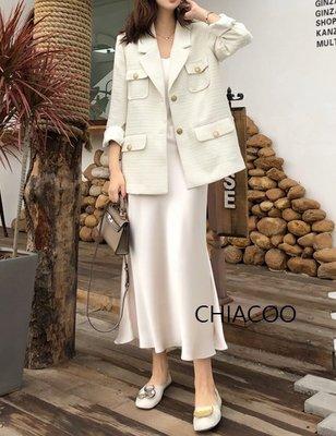 CHIACOO歐美 韓國 復古 小香風 編織 金釦 綁帶 腰帶 西裝外套 口袋 夾克 favvi snidel 名媛