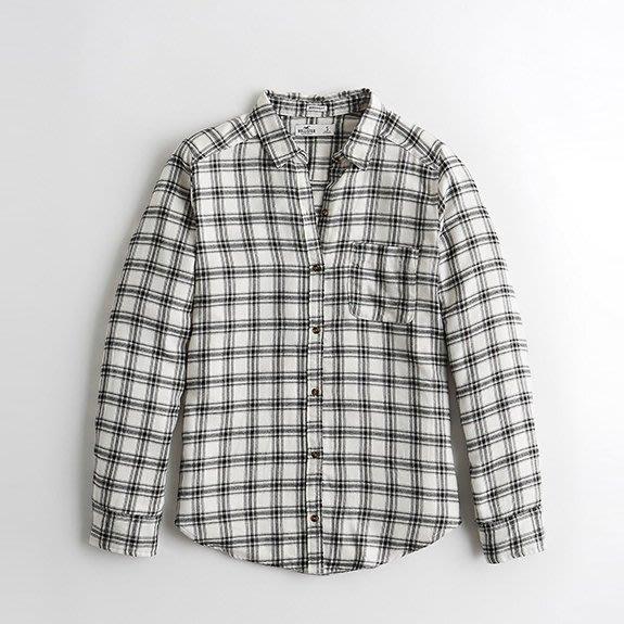 【HOLLISTER Co.】【HCO】HC女款長袖襯衫黑線白中格 F02200317-05
