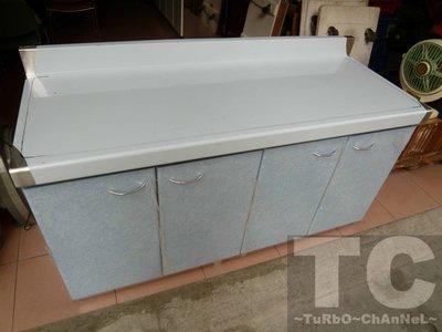 流理台【144公分工作平台】台面&櫃體不鏽鋼 淺藍線條紋門板 最新款流理臺