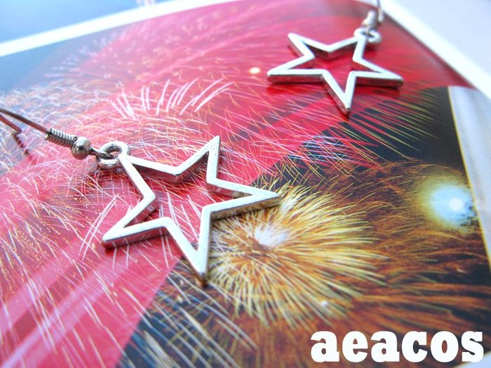 AEACOS@古董 古著 vintage retro MODs 摩登 俐落 現代 銀色 星星 針式耳環