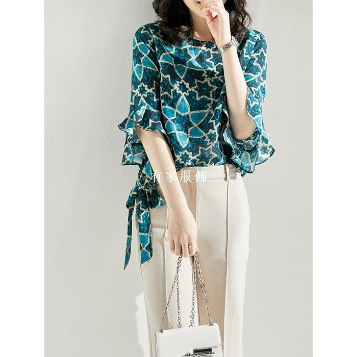 有家服飾[SY113721MG] 笑涵閣 不一樣的星空深邃藍 桑蠶絲荷葉袖上衣春