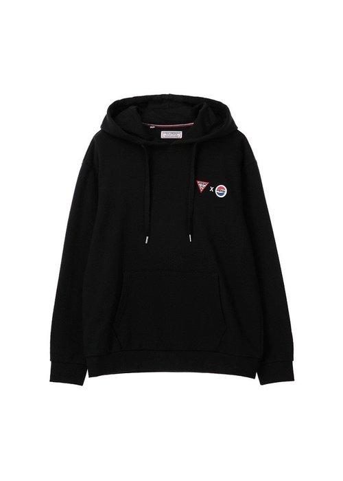 【Luxury】Guess Pepsi Cola 韓國限定 限量 聯名  Logo Hoodie 帽T 黑白紫 百事可樂