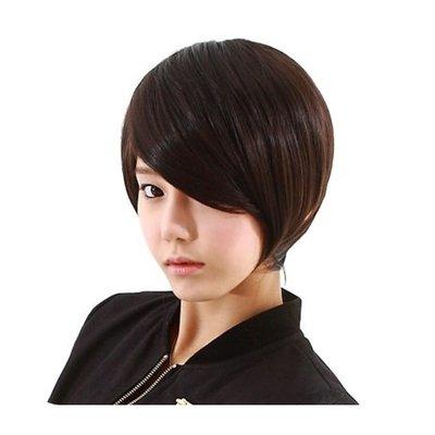 整頂 假髮 真髮絲-時尚斜瀏海短直髮手織女假髮2色73vc16[獨家進口][米蘭精品]