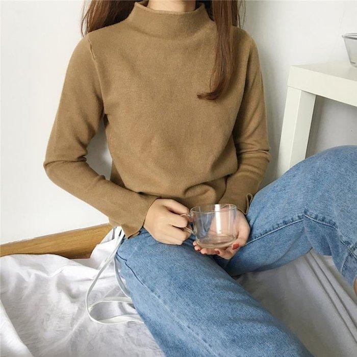 2017秋冬新款韓版修身套頭打底純色針織衫短款半高領毛衣女951