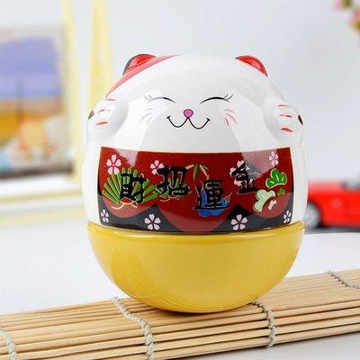 創意招財貓擺件 可愛生日禮物不倒翁桌面擺設裝飾品 0242 吉善緣130