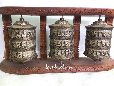 甘丹佛教文物^_^*已加持*壁掛式六字大明咒手轉動轉經輪 ***三座一體 (尼泊爾製)