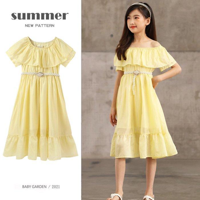 【TF5653】✿寶貝花園✿ 2021夏季新品 女童 中大童 一字領甜美荷葉邊裙 公主裙 連衣裙 洋裝