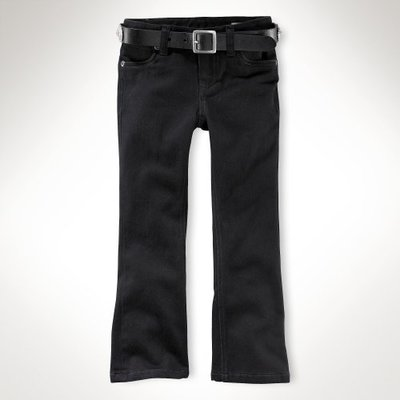 Polo Ralph Lauren 小女孩Sutton黑色靴型牛仔褲(6T) (73178) ~全新正品