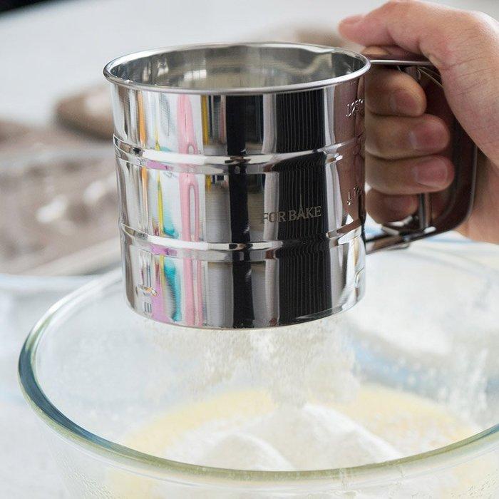 奇奇店-熱賣款 法焙客手持面粉篩 半自動不銹鋼杯式糖粉篩面粉過濾網 家用烘焙