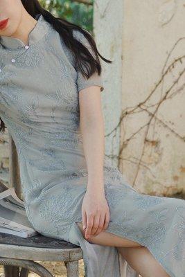 WANTING晚《水迢迢》全刺繡改良旗袍仙女風顯瘦連衣裙2021新款