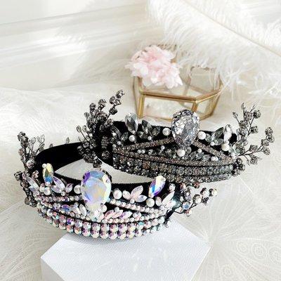 小琳飾品~新款韓國奢華水晶枝葉鉆飾復古皇冠女髮飾頭箍髮箍髮卡T507