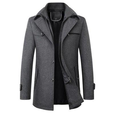 男西裝外套跨境外貿男裝加厚呢料大衣休閑商務保暖立領呢外套爸爸裝DY1816風衣