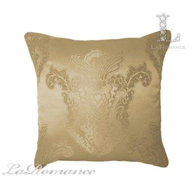【芮洛蔓 La Romance】古典風情系列米金色立體緹花圖騰抱枕 / 靠枕 / 靠墊 / 方枕