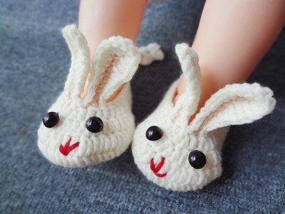 純手工訂製新生兒0-12個月編織毛線鞋/可愛兔兔鞋子❤❤Moira shop 莫依拉❤❤