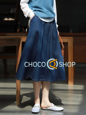 CHOCO SHOP 鬆緊腰圍 舒適純棉 A字牛仔裙 特價 21030071
