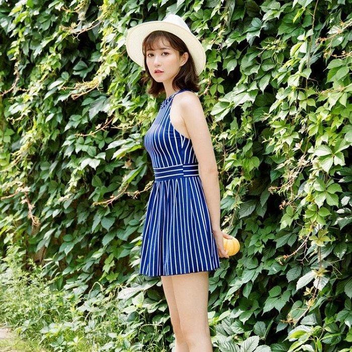 游泳衣女士連體保守遮肚顯瘦新款韓國溫泉學生少女裙式平角褲泳裝Y-優思思
