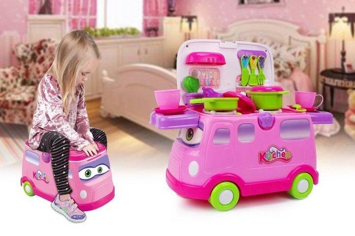 新款奇騎樂美味快餐車~粉嫩新色~多功能家家酒玩具~還可當滑步車唷~◎童心玩具1館◎