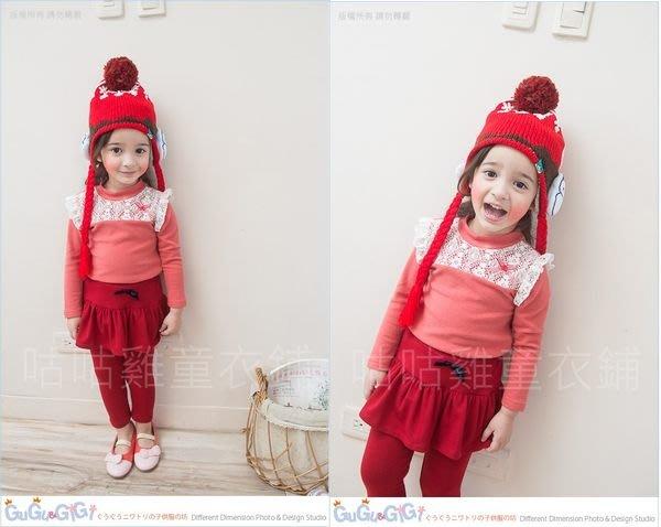 【RG3120452】秋冬款~胸蕾絲紅釦格紋蝴蝶結梅粉色上衣$88