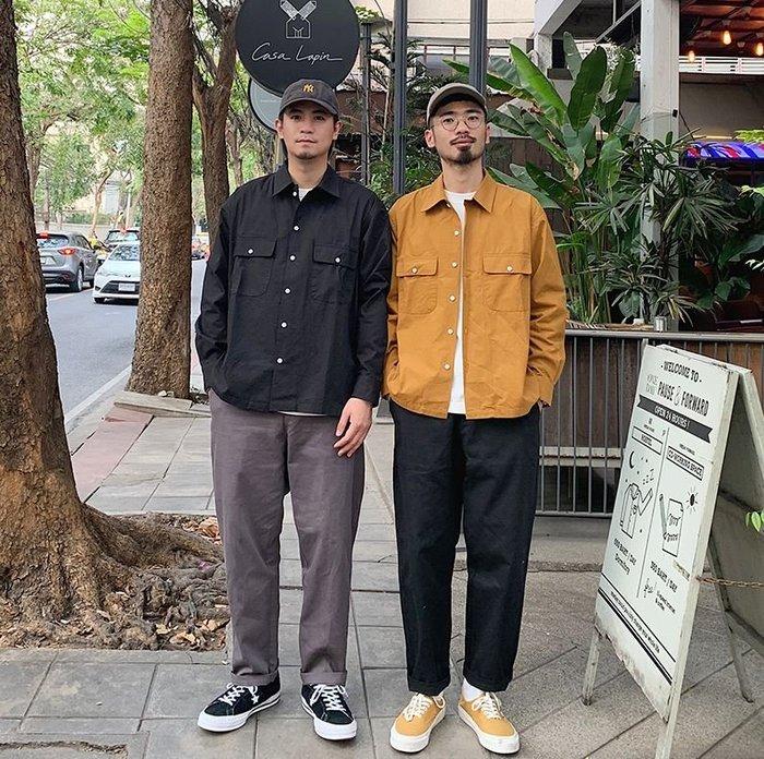 【NoComment】美式街頭休閒 質感簡約 素面工裝長袖襯衫 三色 Uniqlo Supreme