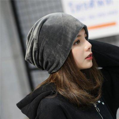 新款秋夏季純色堆堆帽毛絨套頭帽正韓簡約休閒護耳包頭月子帽