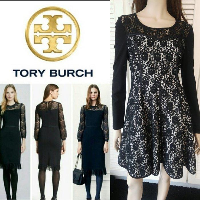 Tory Burch 黑白撞色蕾絲長袖洋裝