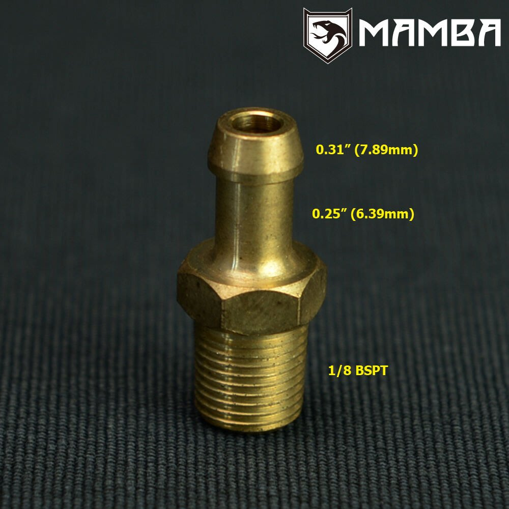 Str 1/8 BSPT to1/4 barb nipple fitting turbo cover actuator