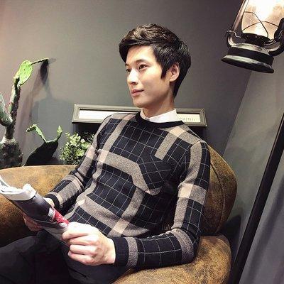 【MOZ潮流男装】網紅男毛衣韓版修身格潮流帥氣冬季時尚氣質套頭個性針織衫毛線衣