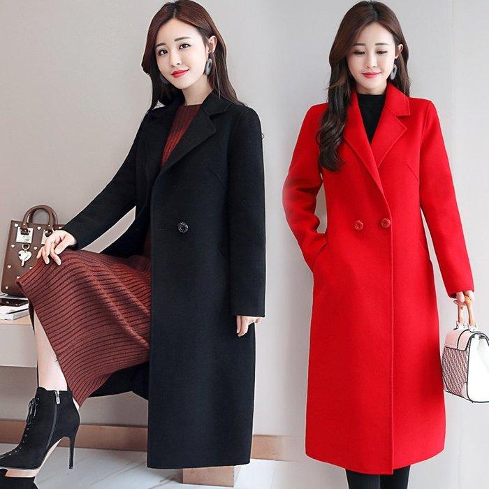 東大門平價鋪   2019秋冬新款雙面尼毛呢大衣,女韓版過膝中長款百搭寬鬆呢子外套潮