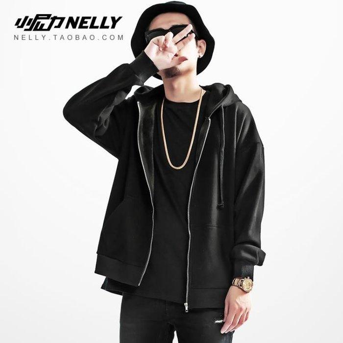 高街暗黑秋冬素色連帽衛衣男士嘻哈寬鬆拉練開衫男女休閒運動外套