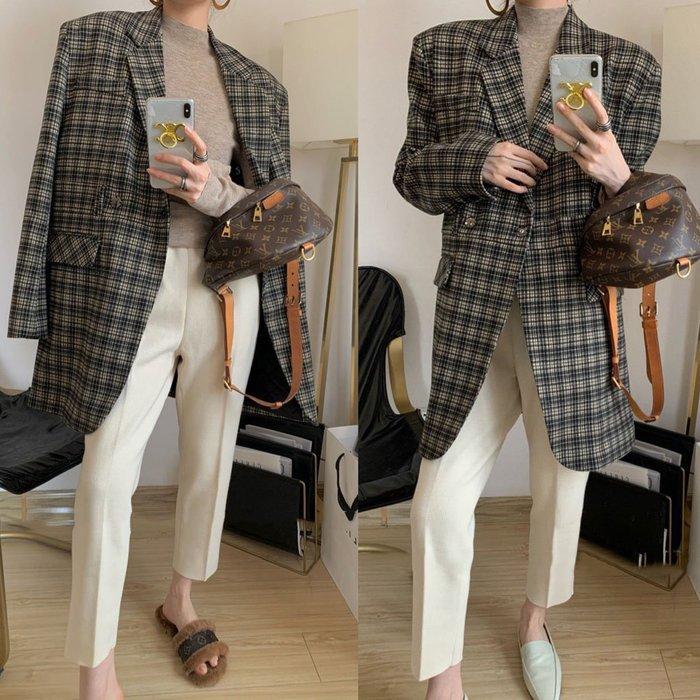 歐美格紋加厚中長西裝大衣寬鬆棉服外套 Zara ASOS.NL Select Shop .