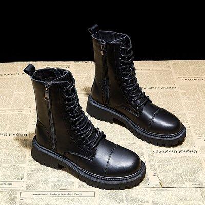 馬丁靴女新款英倫風百搭短靴黑色機車鞋網紅新瘦瘦靴真皮秋冬季小新惠鴨!ak